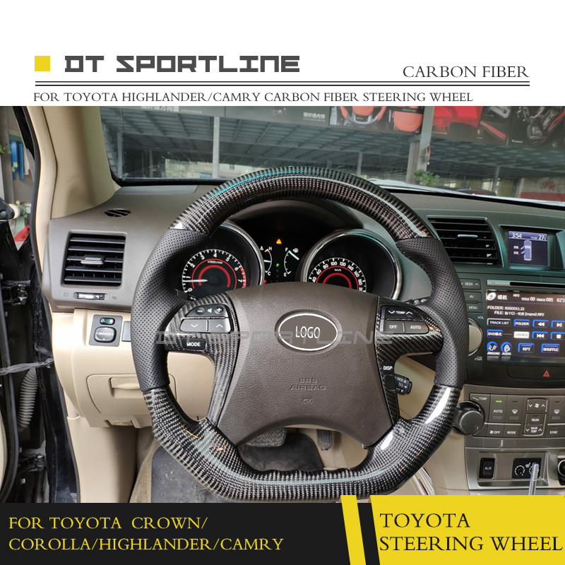 For Toyota Crown Corolla Camry Highlander Carbon Fiber Steering Wheel Replacement Accessories In Wheels Horns From
