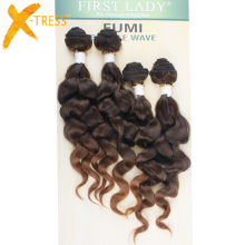 X-TRESS Natural Loose Wave Hair Bundles 4st / Pack 16 16 18 18inches Ombre Färg T1B / 27 Högtemperatur Fiber Hair Extensions