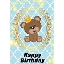 Laeacco Happy Birthday Crown Bear Golden Border Baby Cartoon Scene Photographic Background Photography Backdrop For Photo Studio