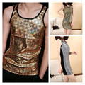 Thin Men Women unisex Jazz harem Gold Silver plaid Tank Top Laser Reflective Sequins jazz patchwork  dance Vest