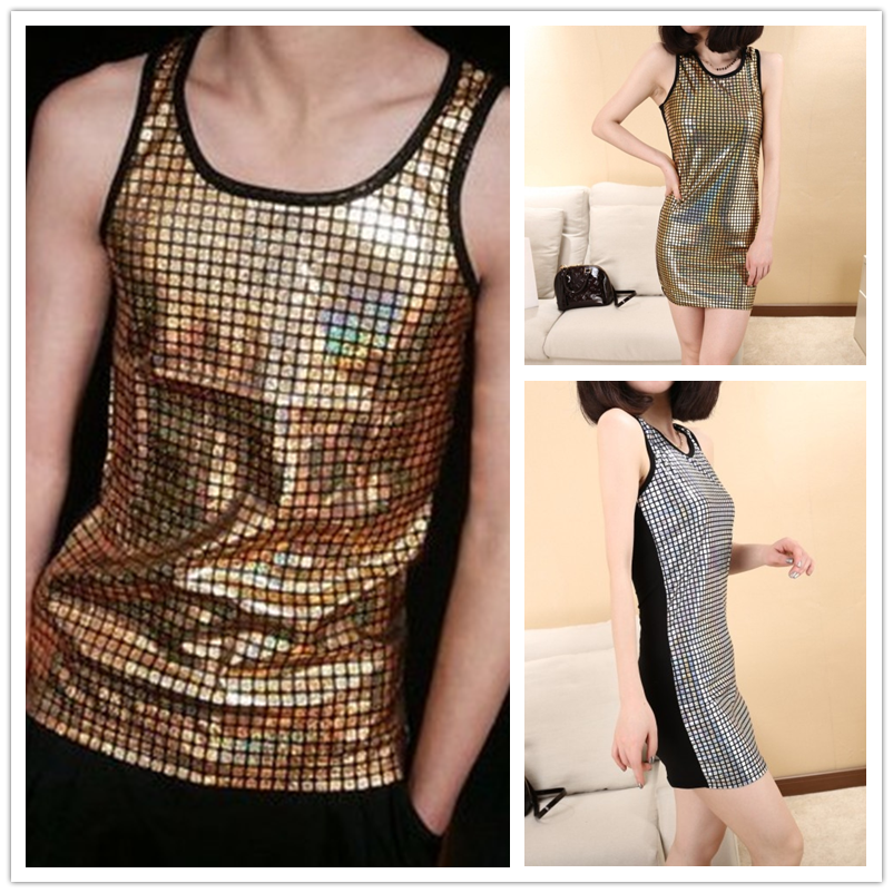 Thin Men Women unisex Jazz harem Gold Silver plaid Tank Top Laser Reflective Sequins jaz ...