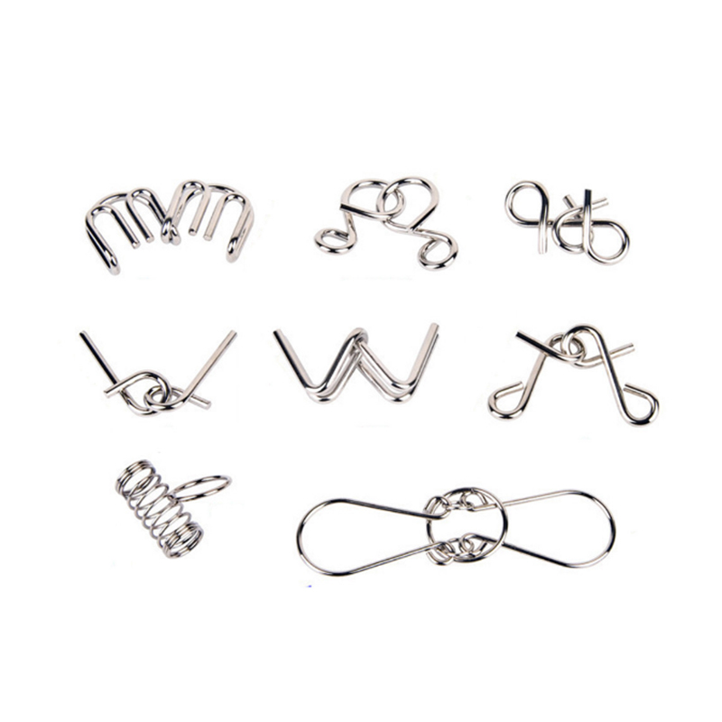 Subcluster 8 Pcs Set Metal Crafts Chinese Ring Puzzle IQ Brain Teaser Kid Adult Educational Toy in Puzzles from Toys Hobbies