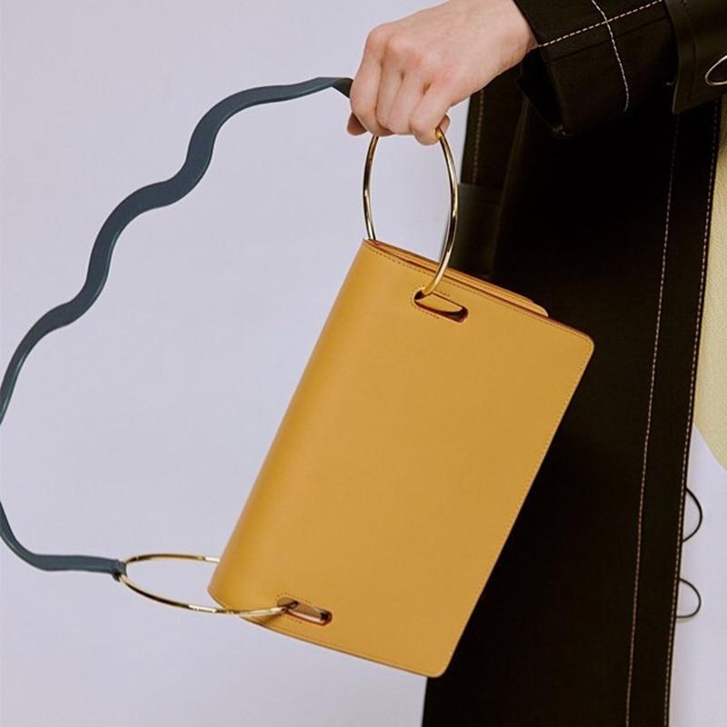 AUTEUIL Vintage Top-Handle Bags Women Dora Leather Shoulder Bags Double Rings Handbag New Arrival Women Handbags Fashion EH043 стоимость
