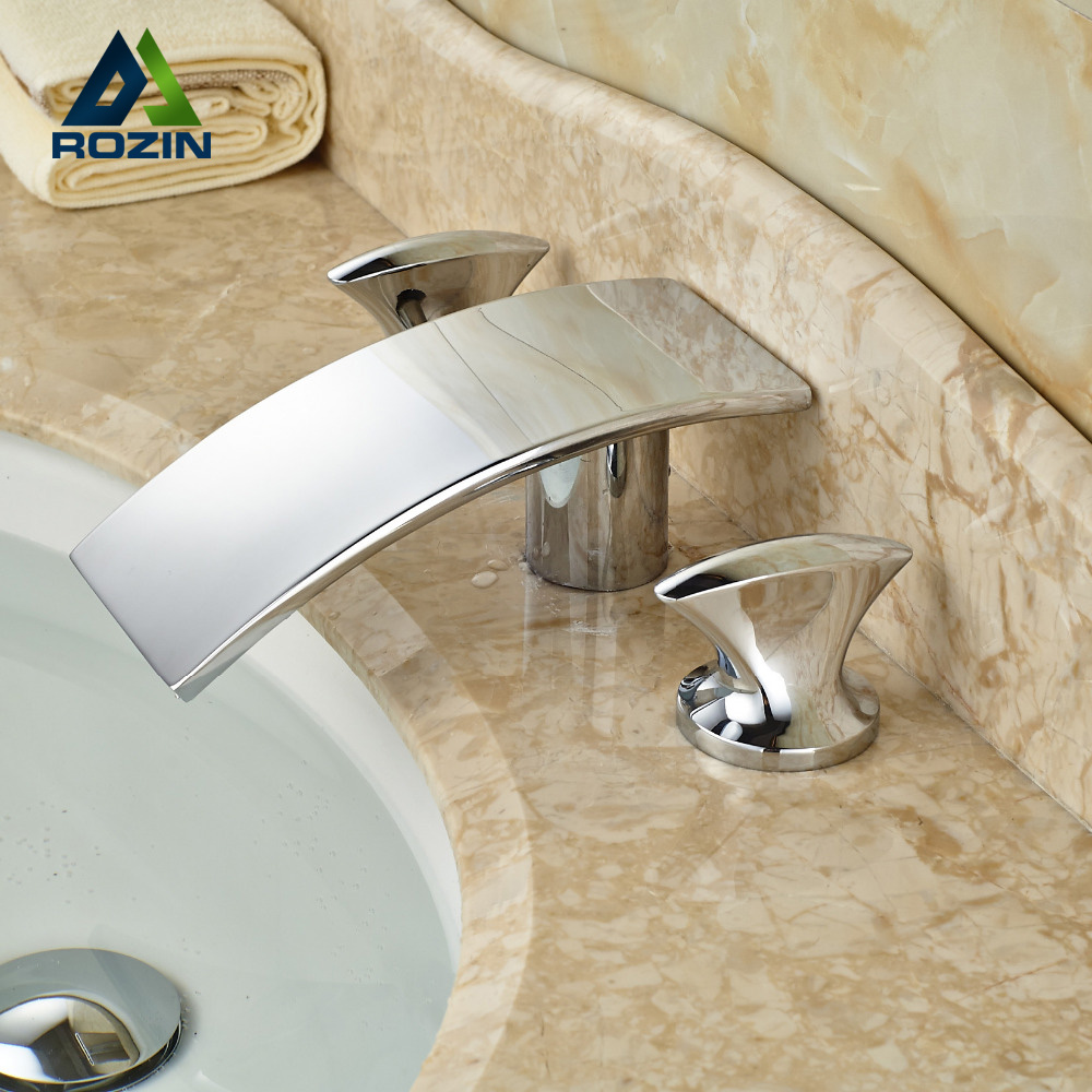 High Quality Best Price Bathroom Waterfall Faucet Basin Mixer Tap Dual Handle Chrome Finish