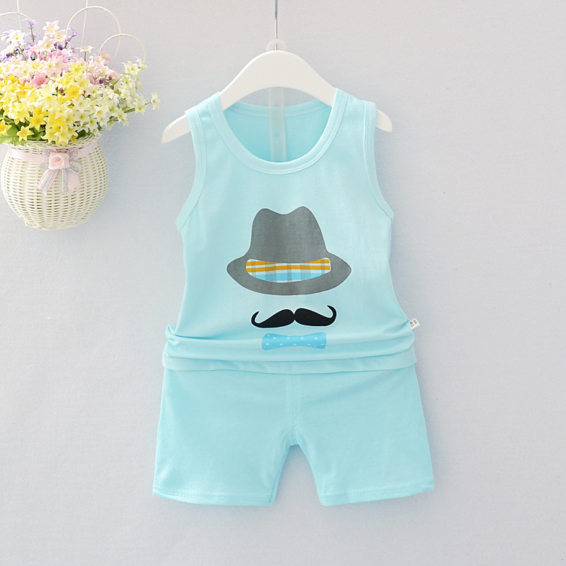 summer Baby boys girls Clothes cotton Cartoon Newborn baby boy clothes Set vest Top+pant 2pcs boys Clothing set kid clothes cotton baby rompers set newborn clothes baby clothing boys girls cartoon jumpsuits long sleeve overalls coveralls autumn winter