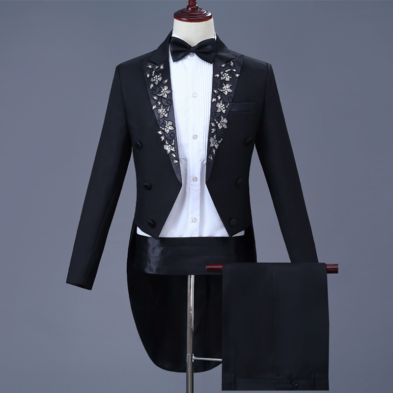 Tuxedo Embroidery Jackets Blazers Black Suit Long Tail Coat Wedding Night Club Party Clothes Male Formal Set Singer Wear DT772