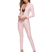 Costumes Jumpsuit Solid Romper Womens Ladies Long sleeve Playsuit Plus size Wetlook Sexy Faux leather Clubwear