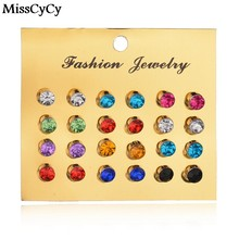 MissCyCy New 12 Pairs/set Colorful Crystal Earrings Piercing Gold Color Fashion Stud Earrings For Women Bijoux Jewelry Brincos(China)
