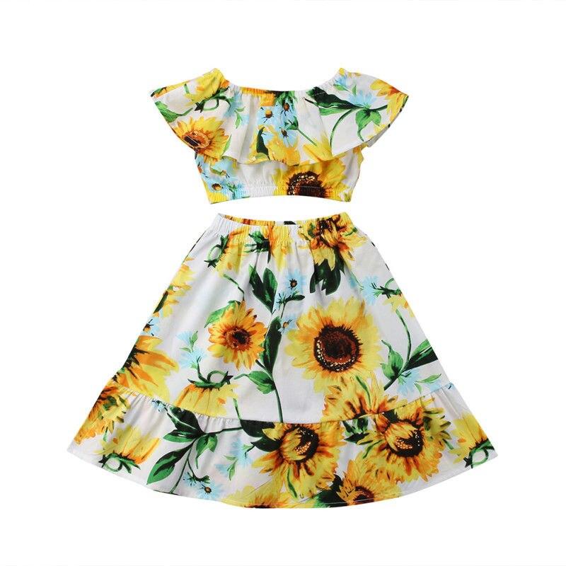 Kids Baby Girls Flower Off Shoulder Crop Tops Sunflower Skirt 2PCS Outfits Set Girls Clothes Summer