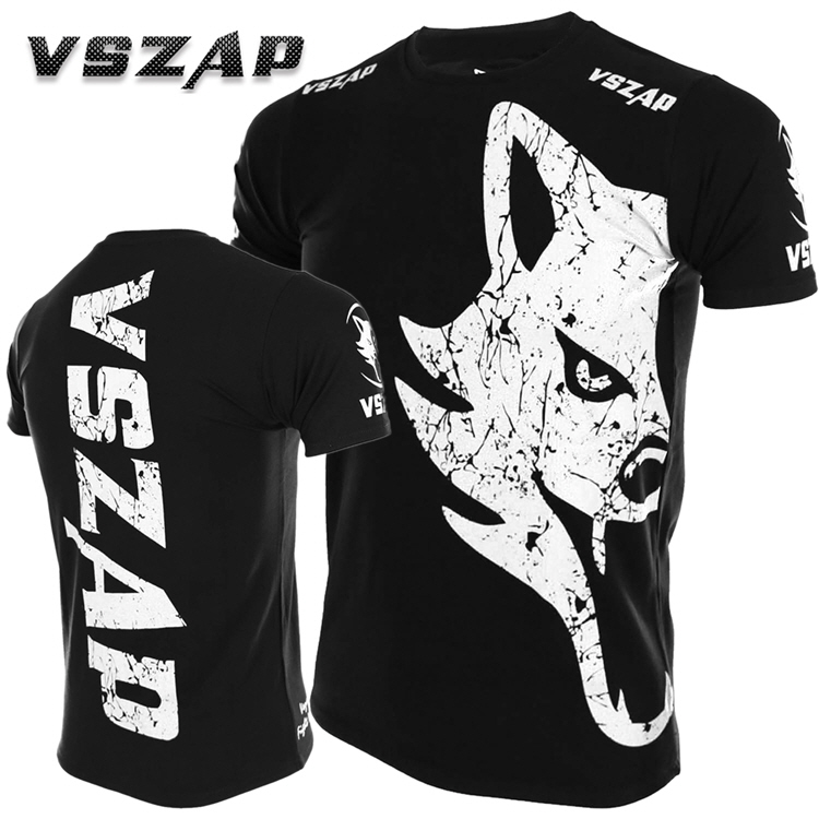 VSZAP GIANT Sanda Short-sleeved T-shirt Summer MMA Fighting Martial Arts Wind  Muay Thai Boxing Wolf Fighting Sports Fitness