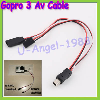 1pcs USB to AV Video Output & 5V DC Power BEC input Cable FPV for Gopro Hero 3 Dropship free shipping gopro hero 3 usb 90 degree to av video output
