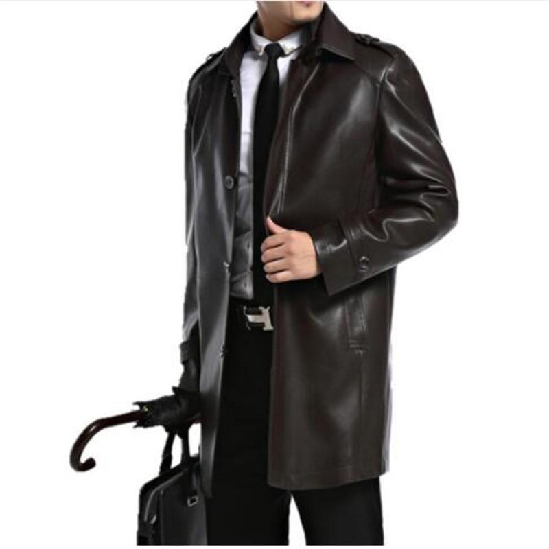 Men Leather Jackets Sheepskin Male Outwear Jackets Autumn Casual Jacket Men Fashion Long Man Leather Jackets