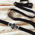 Silmple Ribbon Sash Belt for Wedding Dress Waistband Handmade Bridal Blets With Beadings Black Flower Crystal Rhinestones