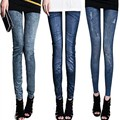 2017 Fashion Women Fake Jeans Leggings Spring Stretchy Slim Jeans Skinny Jeggings Female Pencil Pants Fitness Faux Jean Leggins