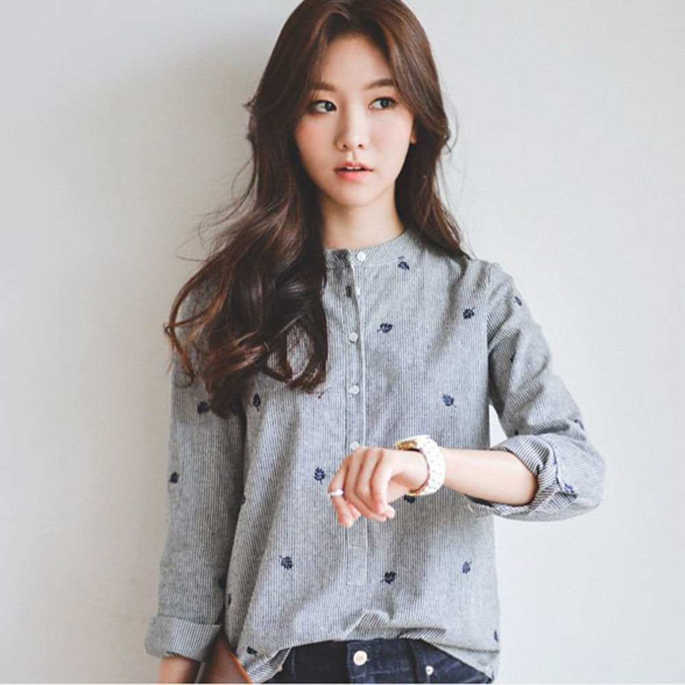 Women Striped Stand Collar Shirt Autumn Winter Embroidery Slim-fit Tops Female Casual Shirt Tops Lady Shirts Long Sleeve Blusas