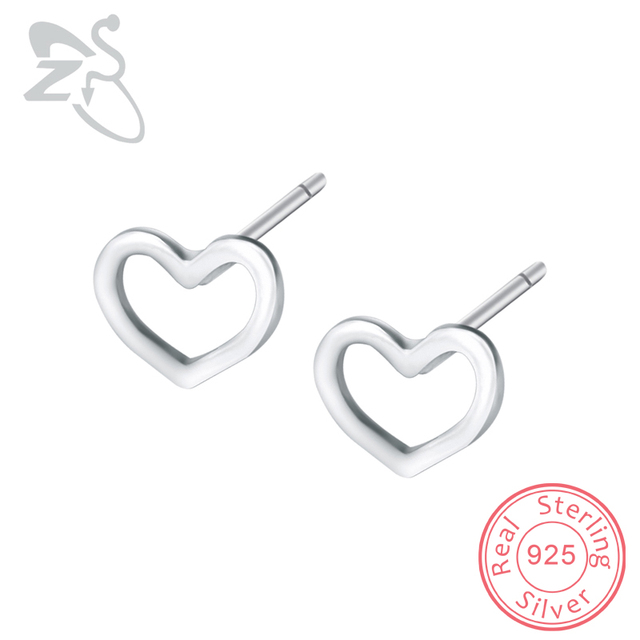 Zs 2018 Stud Earrings 925 Sterling Silver Heart Shaped Hollow Out Simple