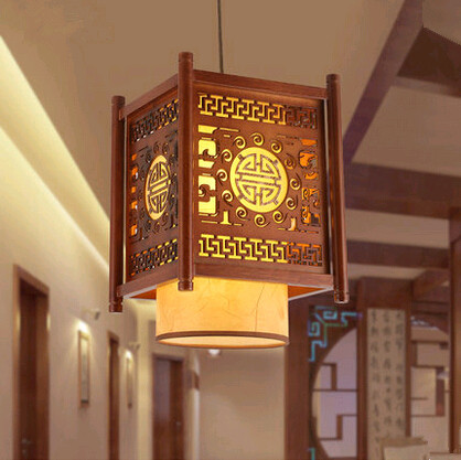 Traditional Chinese style classical carved wood art Pendant Lights Creative minimalist lamp for corridor&porch&stairs MYR013 tradition chinese style carved wood art pendant lights retro countryside house lamp for bar