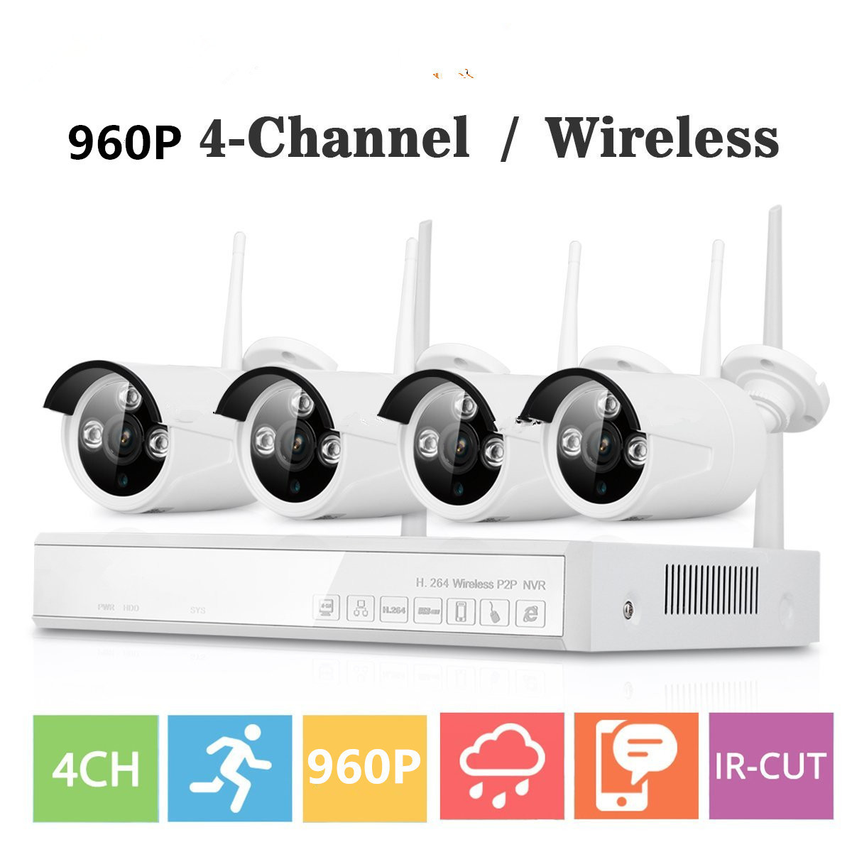 Plug and Play 960P Wireless NVR Surveillance Kit P2P 1.3MP FULL HD Outdoor Security IP Camera WIFI CCTV System APP View