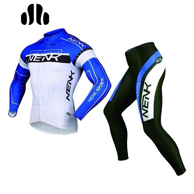 NENK hava geçiş takım erkek bisiklet kıyafetleri yaz bisiklet uzun kollu Jersey ceketler tayt pantolon kıyafet Cooree bisiklet ekipmanları