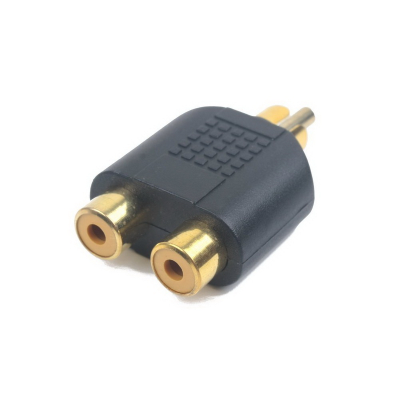 RCA Male to Dual 2 RCA Female Y Splitter Audio Cable Adapter 3.5mm Stereo Audio Male Plug Gold Plated