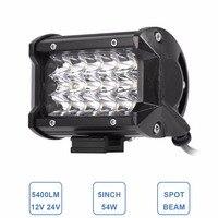 5 INCH LED WORK LIGHT BAR 54W SPOT HEADLIGHT 12V 24V CAR TRAILER WAGON PICKUP BOAT