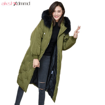 HIJKLNL Real Big Fur Jacket Long Down Jacket 2019 New Winter Women Loose Hooded Duck Down Coat Parkas Mujer Overcoat LH1239