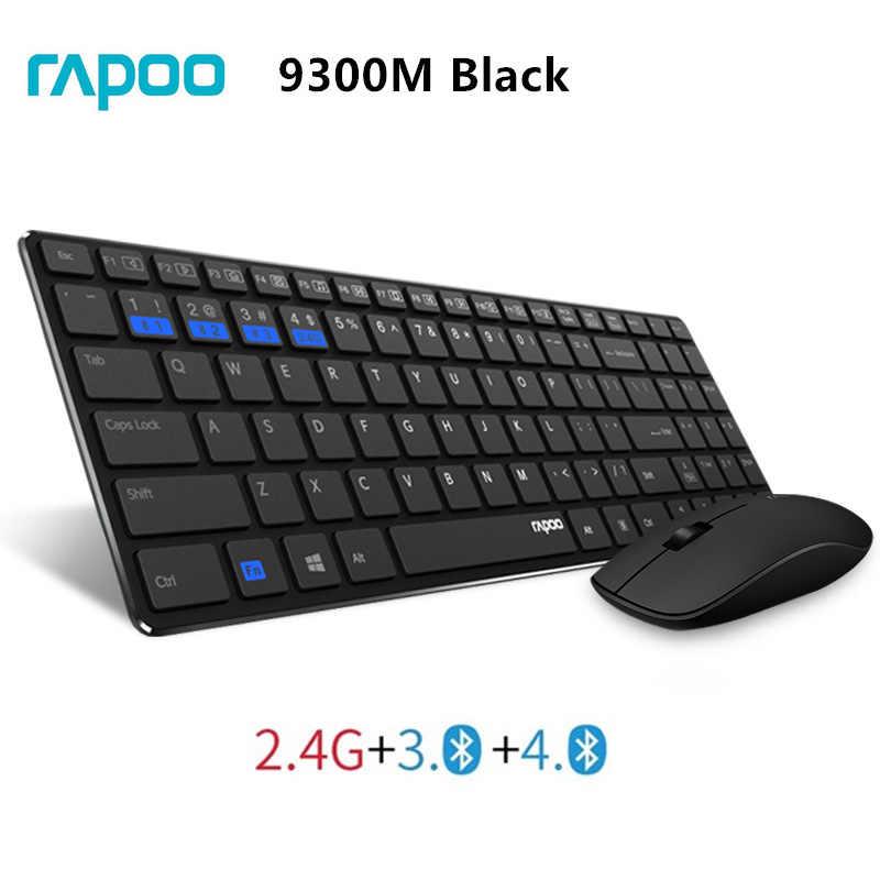 Rapoo 9300P 4.9mm Ultra mince Portable muet sans fil clavier et souris Combo, acheteur russe avec autocollant de clavier russe gratuit.