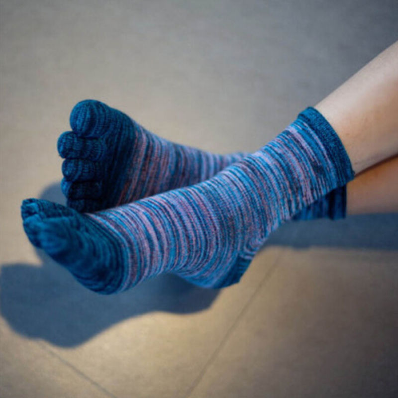 Newest Soft Cotton Blend Casual   Socks   Free Size Men Women Color Retro Five Finger Toe   Socks   Wholesale