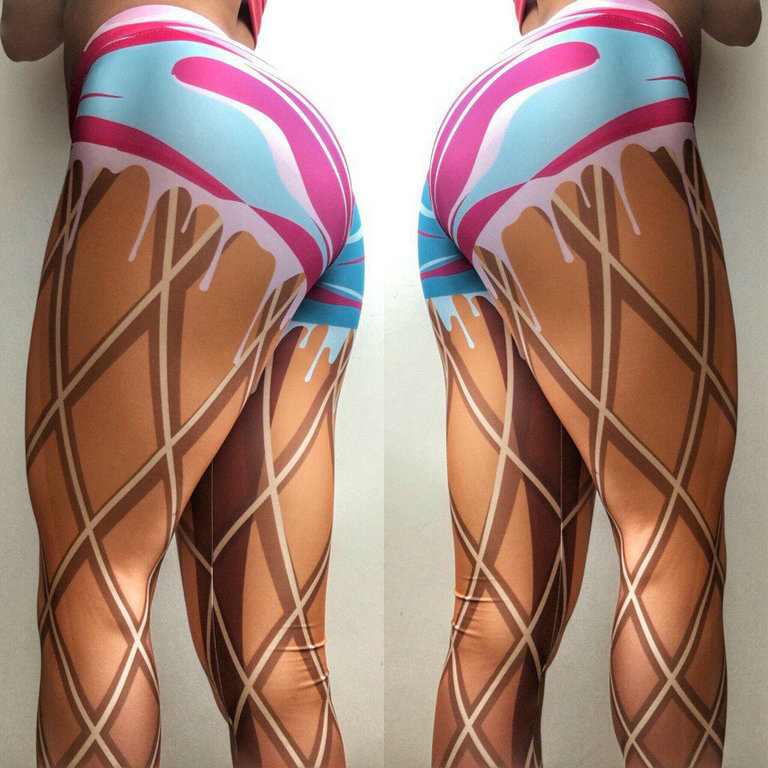 European American Punk Style Print Sexy Hip Fitness Street Sports Wear For Women Gym Quick Dry Elastic Workout Leggings in Leggings from Women 39 s Clothing