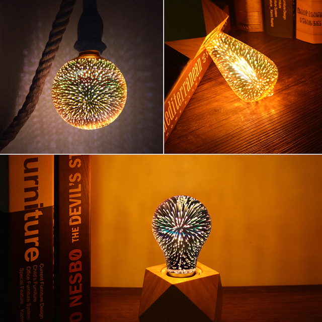 bombillas de LED filamento de la bombilla de Edison de 3D Vintage lámpara de Edison E27 220 V T10 T45 A60 ST64 G80 G95 reemplazar bombilla incandescente