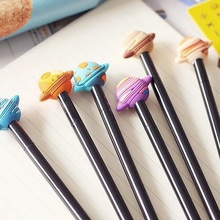 1pcs/lot 3D Cool Planet Black Rod With Cap Gel Pen 0.38mm Ink Funny Gift Office School Supplies
