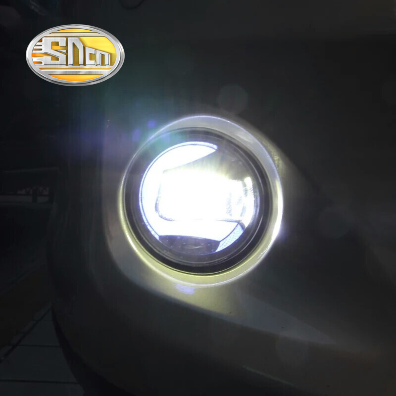 SNCN 2-in-1 Functions Auto LED Daytime Running Light DRL Car LED Fog Lamp Projector Light For Honda Jazz Fit 2014 2015 2016 sncn 24w 14w led multifunctional led fog lamp for honda city 2014 2015 2016 with drl daytime running lights