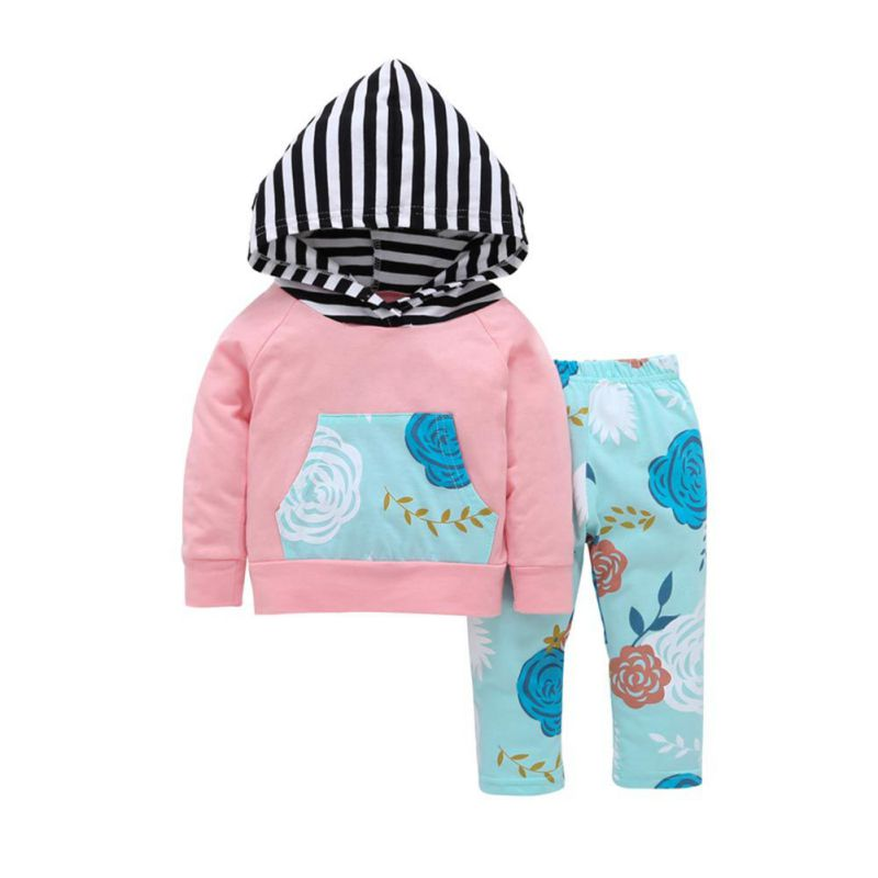 Summer2017 Autumn Newborn Baby Girls Clothes Long Sleeve Hooded Pullover Tops Fashion Floral Pants Infant Baby Girls Clothing