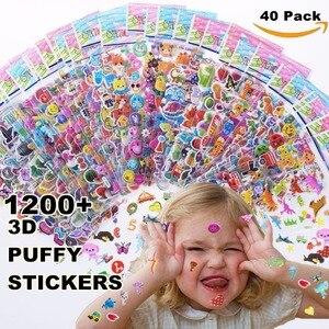 الاطفال ملصقات 1200 + ، 40 ورقة مختلفة ، 3D منتفخ ملصقات للأطفال ، السائبة ملصقات لفتاة الصبي هدية عيد ميلاد ، سكرابوكينغ