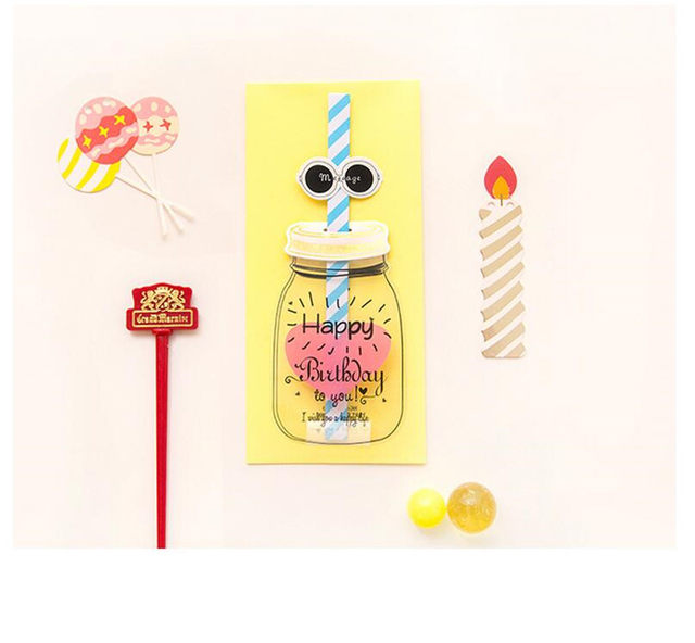 1 Set Korean Style Straw Birthday Card Envelope 3D Creative Greeting Message
