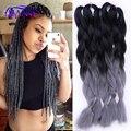 "5 pieces 24"" 100g ombre braiding hair for box braids hair synthetic braiding hair extensions black silver gray dark grey hair"