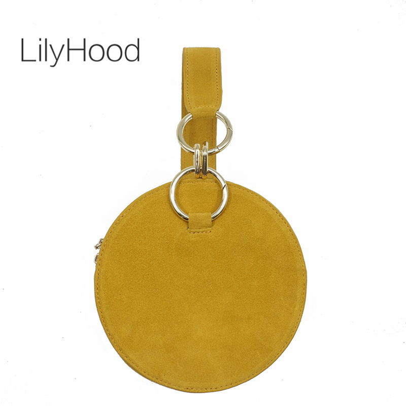 LilyHood Round Clutch Bag Fashion Casual Female Circel Genuine Leather Suede Small Yellow Cellphone Wristlets Canteen Bag