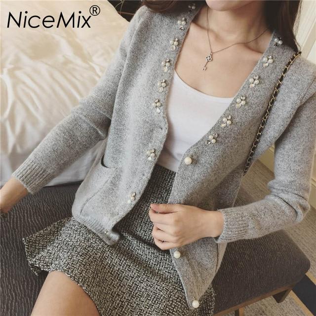 NiceMix 2017 Winter Elegant Cardigan Women Pearl Beading Slim Knitting Cardigans Pull Femme Casual Autumn Sweaters Coat