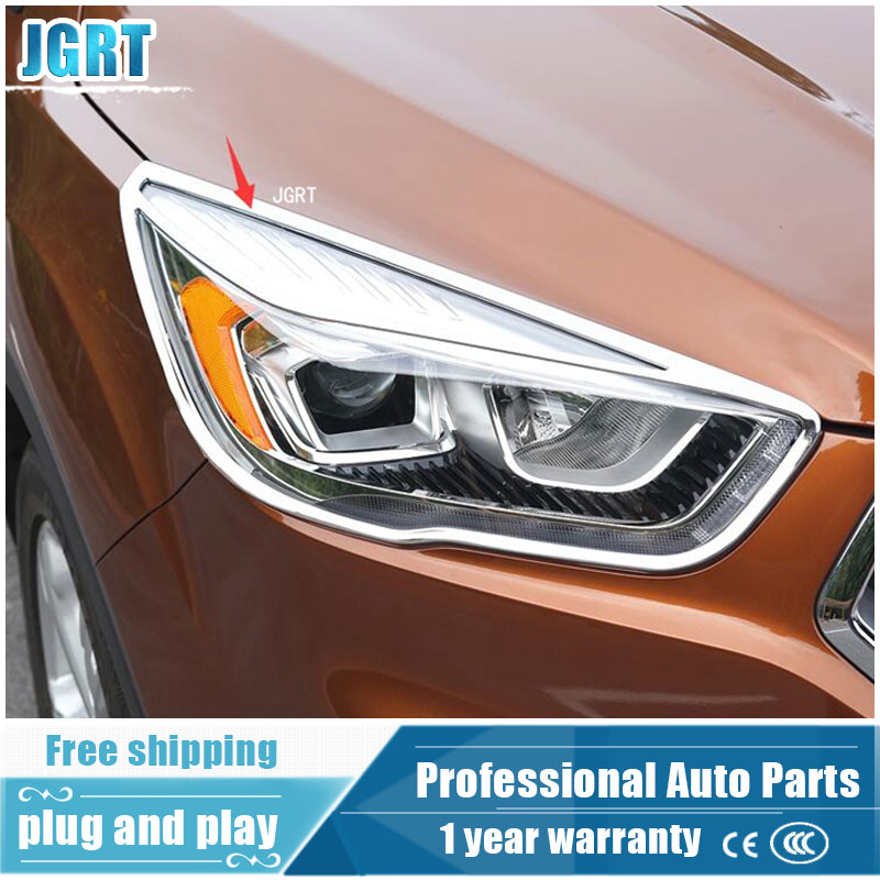 JGRT car styling for Ford Kuga Escape 2017 model high quality chrome headlight cover ABS head lamp decoration frame 2 pcs jgrt chrome rear window wiper cover trim for 2013 2014 2015 frod escape kuga new high quality chrome stickers trim car styling c