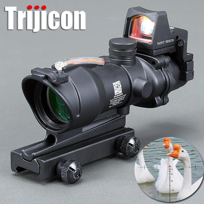 Acog 4x32 Optique Portée de Tir Cahevron Réticule Fiber Vert Rouge Lumineux Optique Vue Avec Rmr Mini Red Dot vue