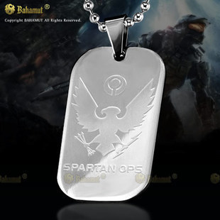 Bahamut Halo Spartan Necklace Dog Tag - Tianium Steel