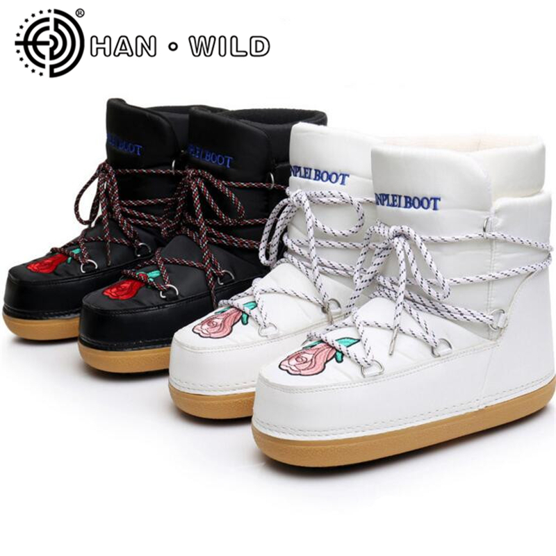 Quality Shoes Women Space Boots Rose Embroidery Ankle Boots Women Lace Up Snow Boots Warm Skiing Boots Casual Ladies Shoes