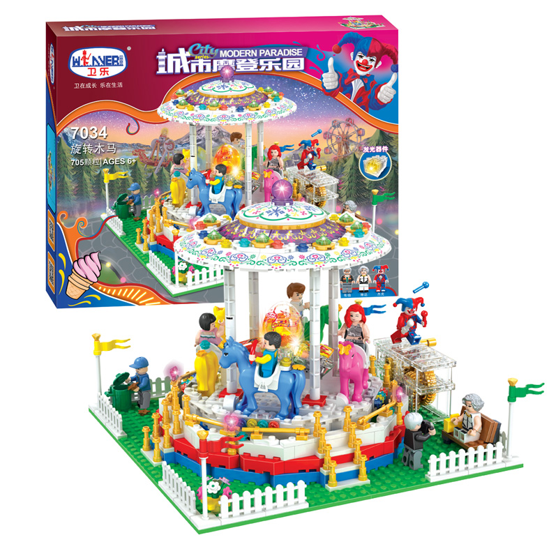 City Series Girl Friends Modern Paradise Carousel With Lighting series  Building Block Toys Compatible with Lepin new 7033 friends series the city park cafe pirate ship model building block classic girl toys compatible with lepin
