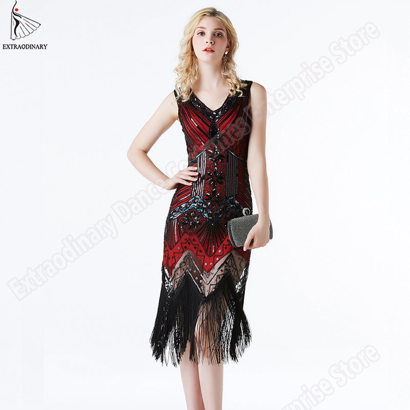 Image 3 - Women 1920 s Vintage Great Gatsby Dress Sequins Dress V Neck Tassels Bodycon Beaded Party Dress Flapper Dresses Art Deco Double-in Dresses from Women's Clothing
