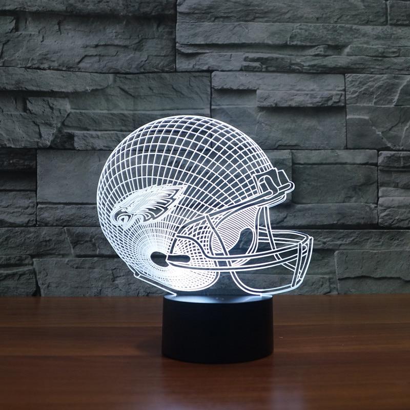 3d led Philadelphia Eagles football cap helmet led light gift furnitures for kids, fans