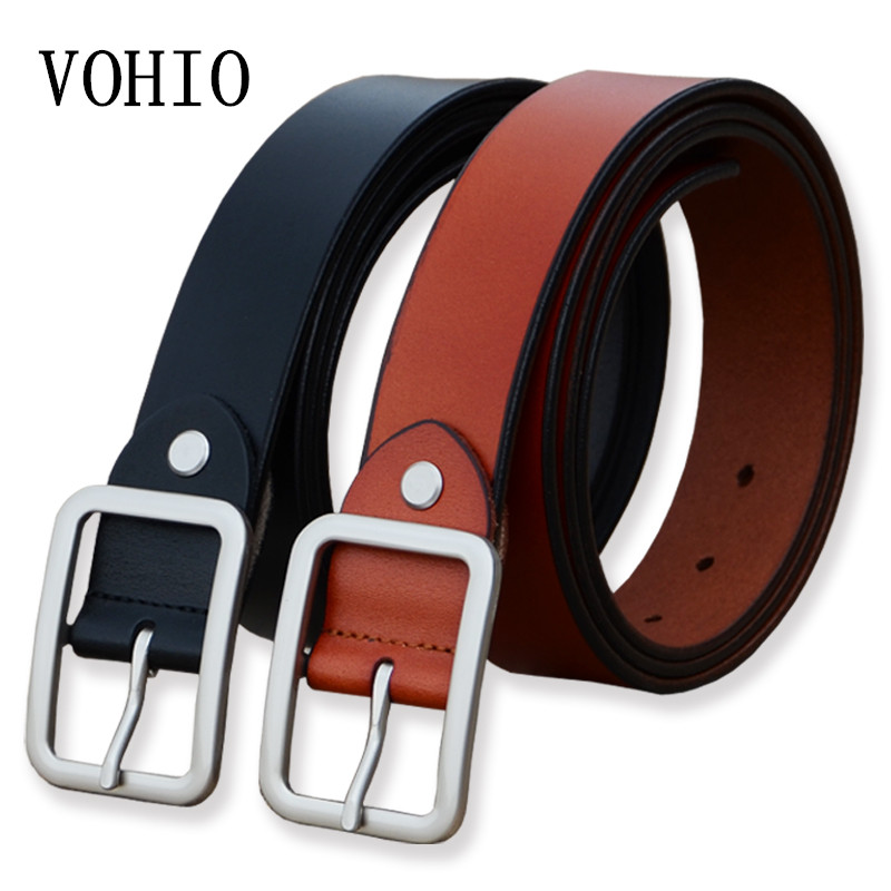 VOHIO 2017 New Mens Belt for Jeans Fatty Lengthening Belt Fashion Firm Length 150 Cm Black 3.5 Wide Leather Belts High Quality