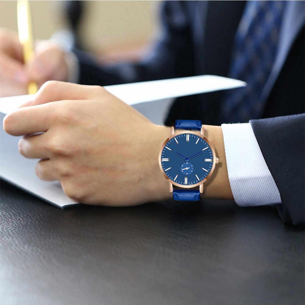 Klasyczny moda mężczyźni oglądać najlepsze marki luksusowe kryształ funkcja randki skórzany zegarek sportowy ludzie biznesu kwarcowy zegarek na rękę