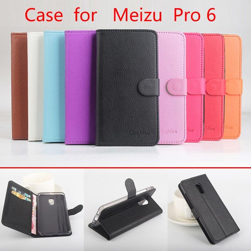 Litchi meizu pro 6 case cubierta de alta calidad de la pu leather case + tpu cub