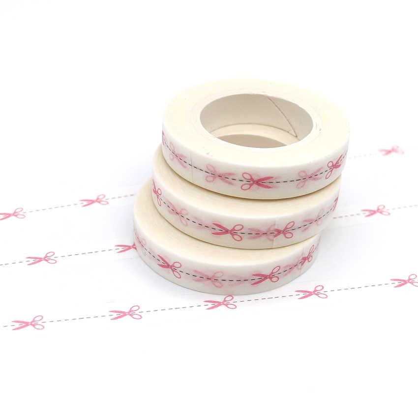 1ชิ้นสีชมพูกรรไกรสีแบบWashiเทปบางตกแต่งเทปกาวกระดาษกาวเทป10เมตร* 8มิลลิเมตร