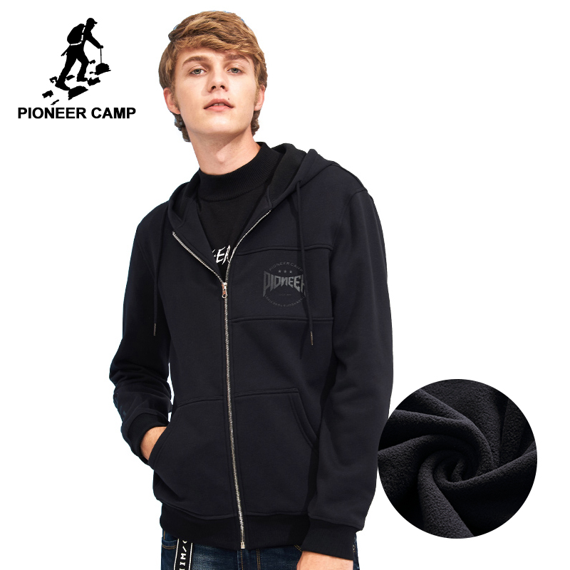 Pioneer Camp new fashion winter thick hoodies men brand clothing zipper fleece warm sweatshirts male 100% cotton AWY701217
